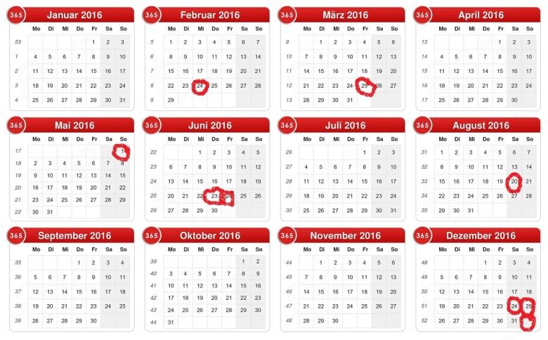 Kalender 2016 (Version 2.0)